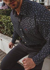 Camisa Casual Estampada Manga Longa Preta 50-0