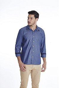 Camisa Casual Gravataria Manga Longa Azul 638-20