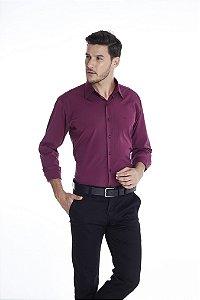 Camisa Confort Lisa Com Elastano Manga Longa Plus Size 669-20