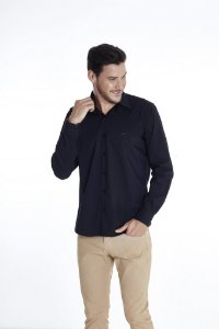 Camisa Casual Lisa Com Elastano Manga Longa Preta 330-20
