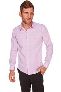 Camisa Slim Estampada Manga Longa Rosa 108-19