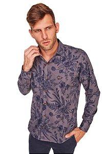 Camisa Casual Estampada Manga Longa Cinza 636-20