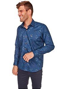 Camisa Casual Estampada Manga Longa Azul 636-20