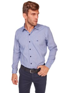 Camisa Casual Estampada Manga Longa Azul 632-20