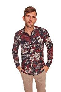 Camisa Slim Estampada Manga Longa Bordo 604-20