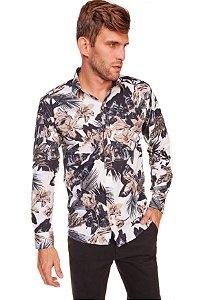 Camisa Slim Estampada Manga Longa Branca 604-20