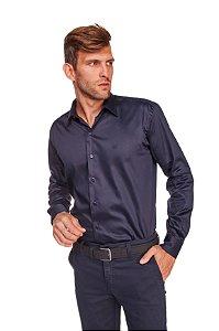 Camisa Slim Lisa com Elastano M/L Marinho 316-20
