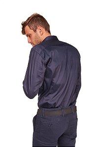 Camisa Slim Lisa com Elastano M/L Marinho 612-20