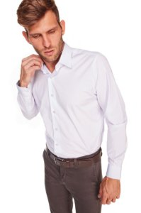 Camisa Confort Lisa Com Elastano Manga Longa Branca 668-20