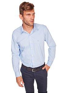 Camisa Confort Lisa Com Elastano Manga Longa Azul 668-20