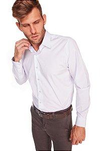 Camisa Confort Lisa Com Elastano Manga Longa Branco Plus 669-20