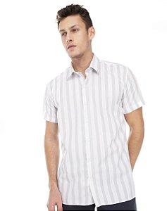 Camisa Slim Listrada Manga Curta  504-21
