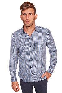 Camisa Confort Gravataria Plus Size  Azul M/L - 665-20