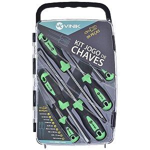 Kit de Chaves com 9 peças Fenda/Philips Vinik