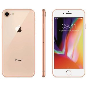 """iPhone 8 Apple com 256GB, Tela Retina HD de 4,7"""", iOS 11, Câmera de 12 MP, Resistente à Água, Wi-Fi, 4G LTE e NFC - Dourado"""