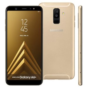 """Smartphone Samsung Galaxy A6+ Dourado 64GB, Tela Infinita de 6"""", Dual Chip, Câmera Traseira Dupla, Android 8.0, Processador Octa Core e 4GB RAM"""