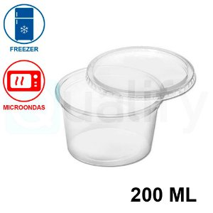 Pote Plástico Sobre tampa Transparente 200ml com 500 UN JBM