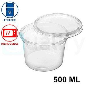 Pote Plástico Sobre tampa Transparente 500ml com 25 UN JBM