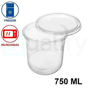 Pote Plástico Sobre tampa Transparente 750ml com 25 UN JBM
