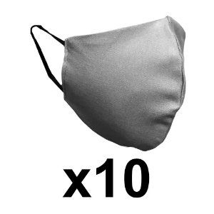 Mascara de tecido dupla cinza reutilizável c/elástico 10 Un