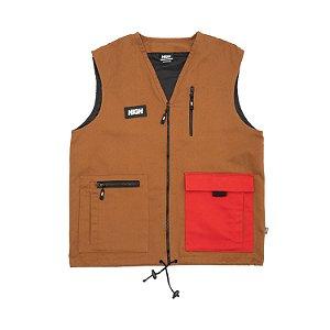 Colete HIGH Company Block marrom/vermelho