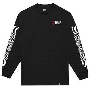 Camiseta Manga Longa HUF Swirls preto