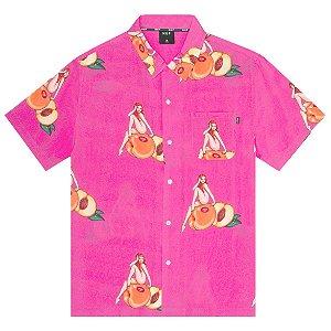 Camisa HUF Peachy Woven rosa