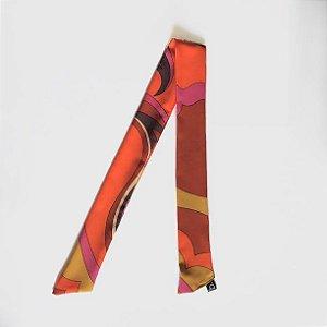 Silk Band Lenço Estampa Scarf Print Laranja