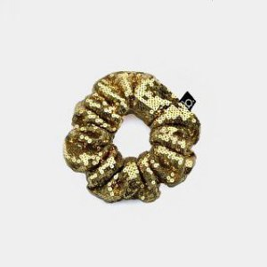Scrunchie Amarrador De Cabelo De Paetê Dourado
