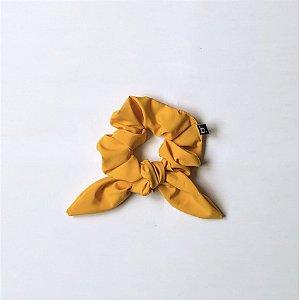 Scrunchie Amarrador De Cabelo De Tecido Amarelo Com Laço