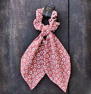 Scrunchie Amarrador De Tecido Floral Com Laço Lenço