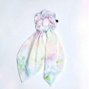 Scrunchie Amarrador De Tecido Tie Dye Com Laço Lenço