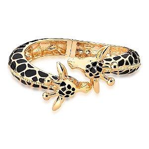 Bracelete Aberto Mimme Girafas Esmaltado Preto