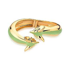 Bracelete Aberto Mimme Raposas Esmaltado Verde