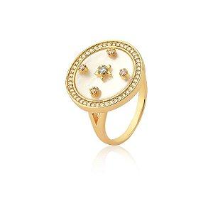 Anel Madrepérola Estrelas com Zircônia - Banhado a Ouro
