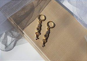 Argolinha Mãozinha e Chave - Banhado a Ouro