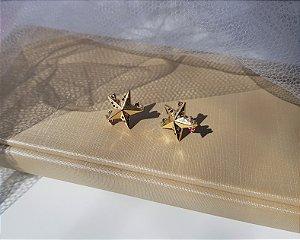 Brinco Estrela com Zircônias Rainbow - Banhado a Ouro