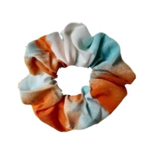 Scrunchie Tie Dye Laranja Azul Crepe