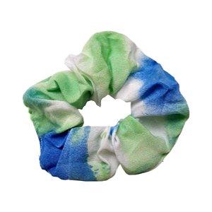 Scrunchie Tie Dye Verde Azul Crepe