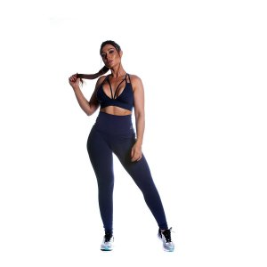 Conjunto Top e Legging Cos Alto Azul Movimento e Cia