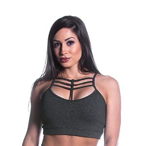 Top Curves Strappy Liso Preto Movimento e Cia