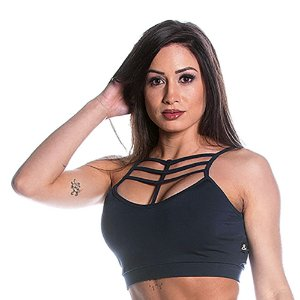 Top Curves Strappy Cinza Escuro Movimento e Cia