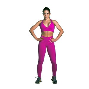 Conjunto Top e Legging Supplex Pink Love Movimento e Cia