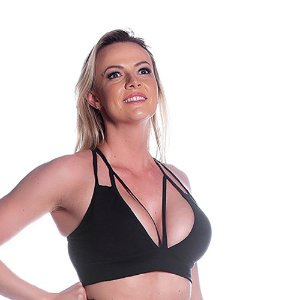 Top Frontal Strappy Preto Movimento e Cia