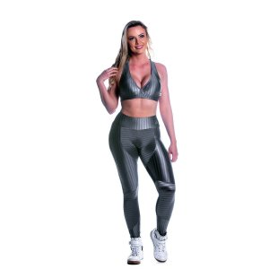 Conjunto Top e Legging Oregon Recorte Prata Movimento e Cia