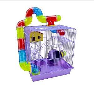 Gaiola Hamster 3 Andares Tubo Super Luxo Lilas