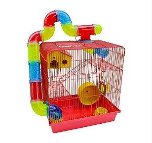 Gaiola Hamster 3 Andares Tubo Super Luxo Vermelho