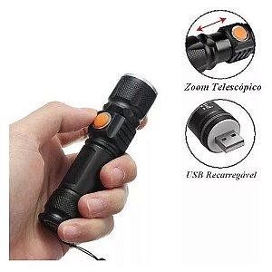 Mini Lanterna Led Manual Recarregável USB com Zoom