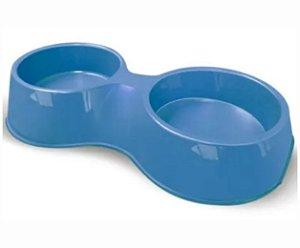 Comedouro Plast. Pop Gato Duplo 190ml Azul Furacao Pet