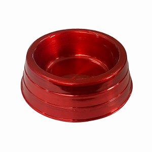 Comedouro Alumínio Pesado Vermelho Mini Dog Head